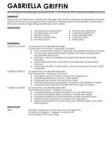 compensation and benefits cv exle for human resources