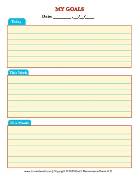 goals list template productivity archives tim s printables