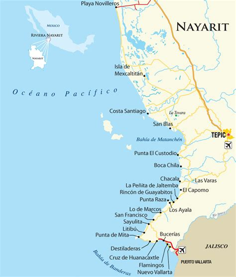 vallarta map of mexico surfing nayarit mexico