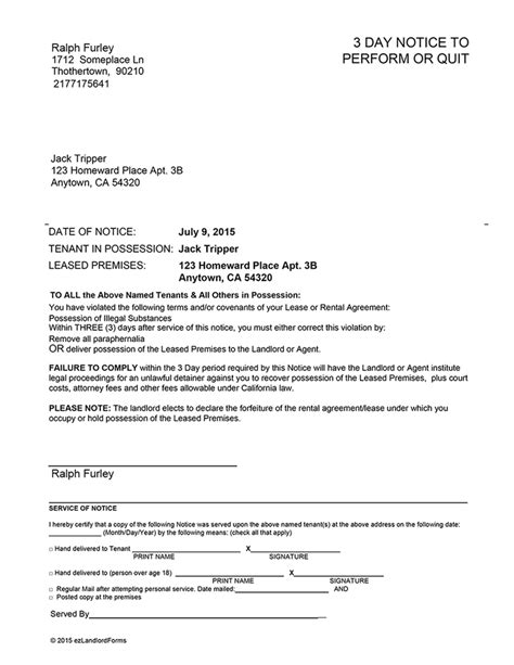 serving notice to tenants template california 3 day notice to perform or quit ez landlord forms