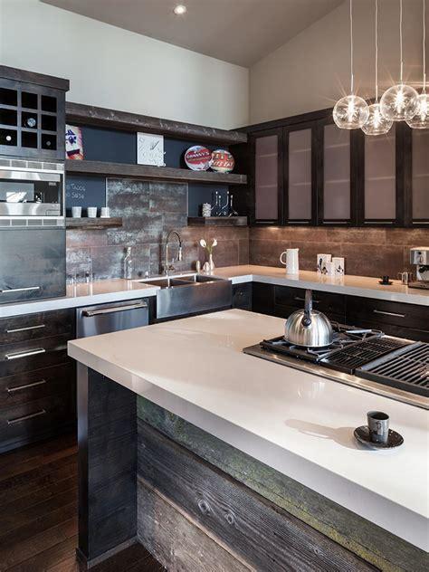 modern island kitchen design using wood panelling photos hgtv