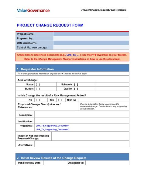 Document Change Form Template