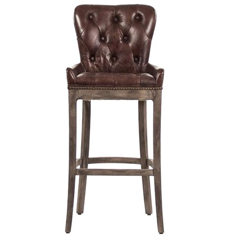 leather bar stools ridley rustic lodge tufted brown leather bar stool kathy