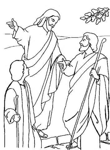 road to emmaus coloring page - Google Search | Jesus with