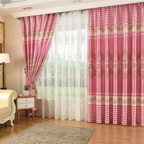 pink living room curtains pink damask embroidery polyester insulated elegant