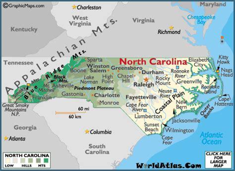 north carolina map / geography of north carolina/ map of