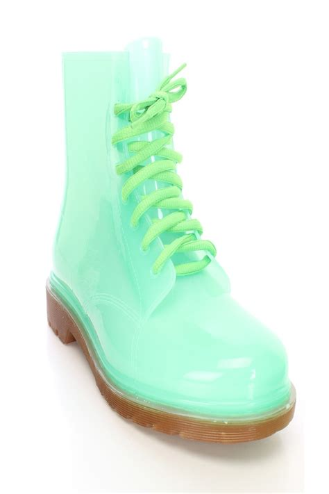 jelly boots green lace up jelly boots rubber