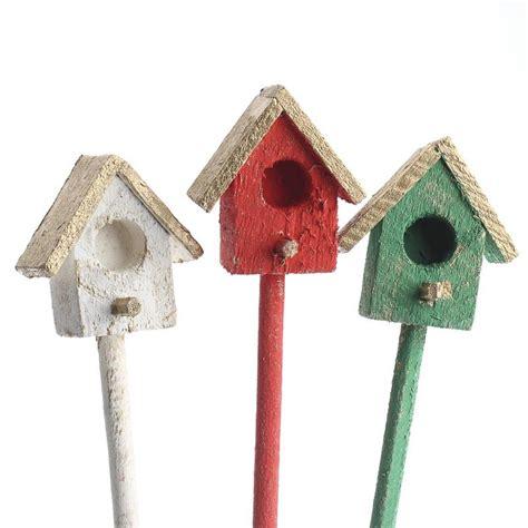miniature rustic wood birdhouse pick birds butterflies