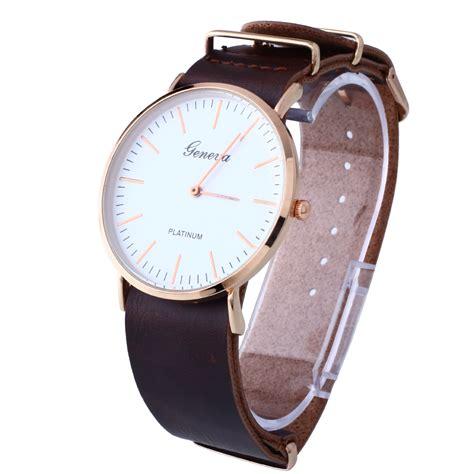 fashion geneva unisex vintage s leather wrist quartz