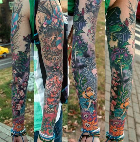 alice in wonderland tattoo sleeve and mon lettering new school crown sleeve