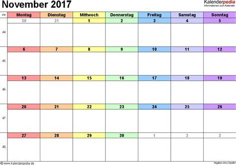 Calendar November 2017 Word Kalender November 2017 Als Word Vorlagen