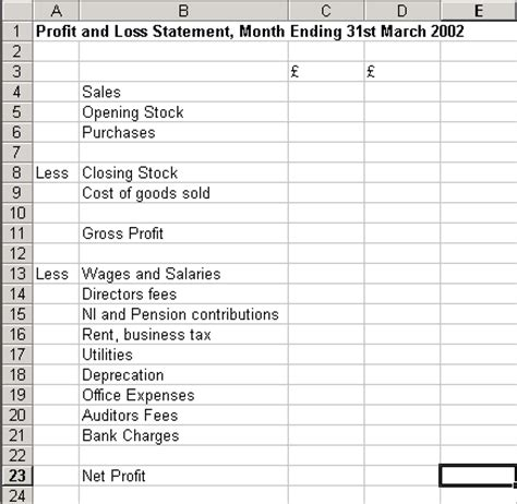 simple profit and loss excel template introduction to excel part 2 basic financial statements