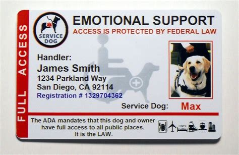 Emotional Support Service Dog Id Card For Service Animal Ada Rated Vertical 8es Ebay Emotional Support Id Template