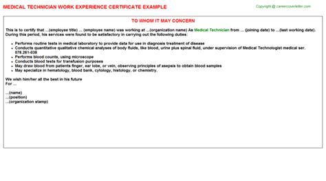 Library Technician Cover Letter by Work Experience Certificates