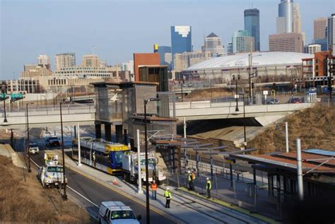 Minneapolis Light Rail Green Line by Test Of Light Rail Cars On Central Corridor