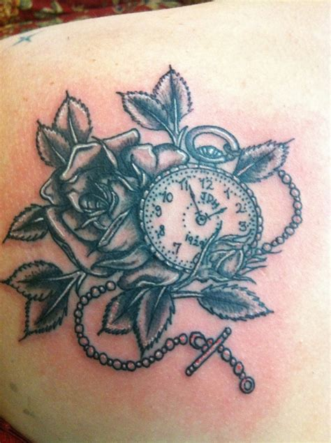 watch and rose tattoo pocket and my grandfathers initials and