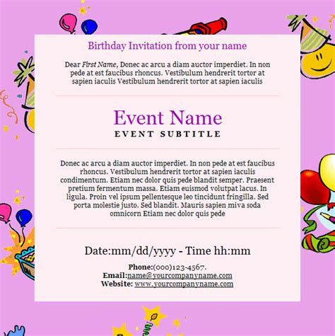 free email invitation template birthday invitation email template 27 free psd eps