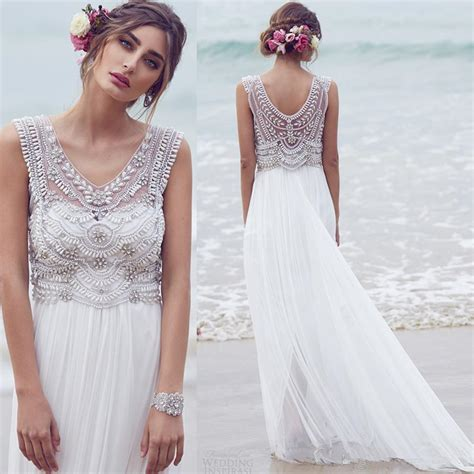 beaded bohemian wedding dress alluring ivory bohemian wedding dress collection