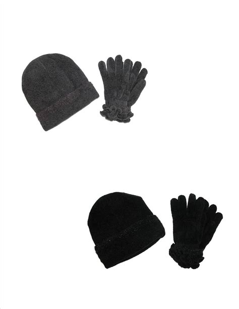womens chenille hat and gloves with trim winter set by ctm