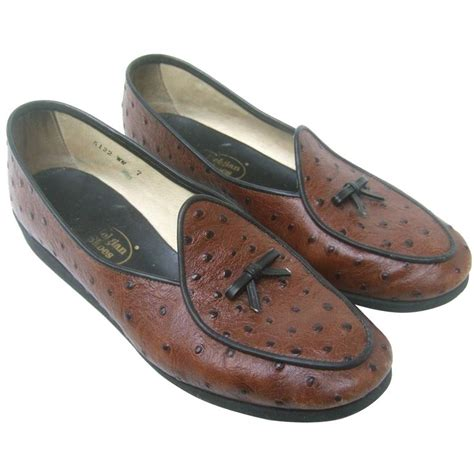 belgian loafers belgian classic brown ostrich leather loafers ca 1980s at