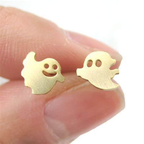 7 Cutest Earrings by Ghosts Silhouette Shaped Stud Earrings In Gold