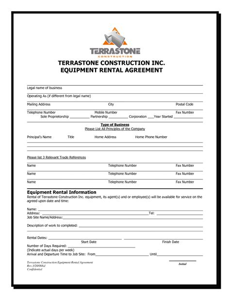 tool rental agreement template 10 best images of equipment rental agreement sle