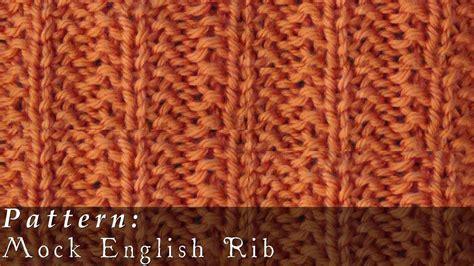 english rib pattern mock english rib knit easy youtube