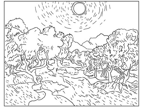 van gogh coloring pages pdf icolor quot masterpieces quot olive trees with yellow sky and