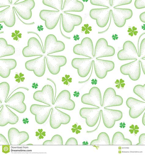 pattern dotted hole leaf green vector seamless background with shamrock cartoon vector
