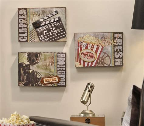 media room wall decor 3pc vintage style cinema media tv room clapboard popcorn