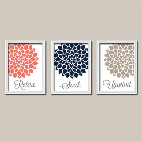 coral navy bathroom decor wall canvas or prints by