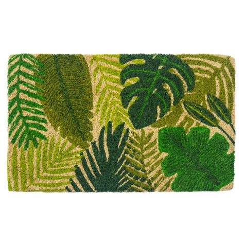 Fiber Doormat by Entryways Tropical Leaves 30 In X 18 In Woven