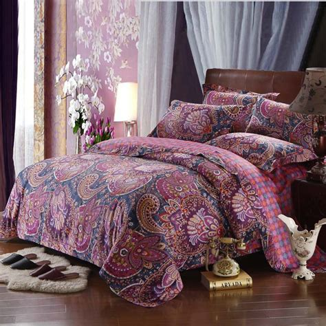 bohemian bed set hot sale long staple cotton bedding set boho bed cover set