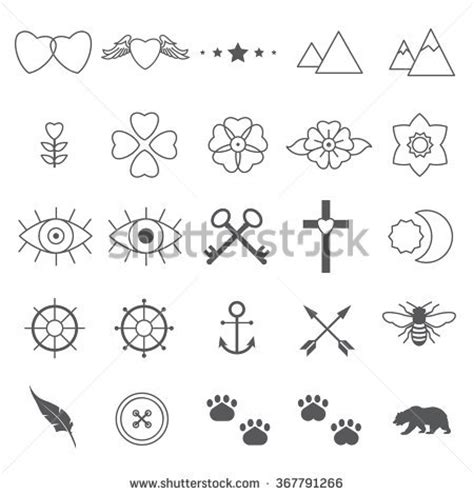 tiny tattoo designs set 2 stock vector 367791266