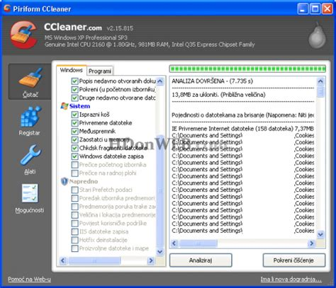 ccleaner za tablet ccleaner brisanje tragova surfanja internetom čišćenje