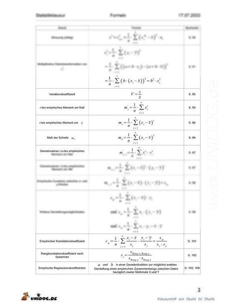 Formelsammlung Statistik 1