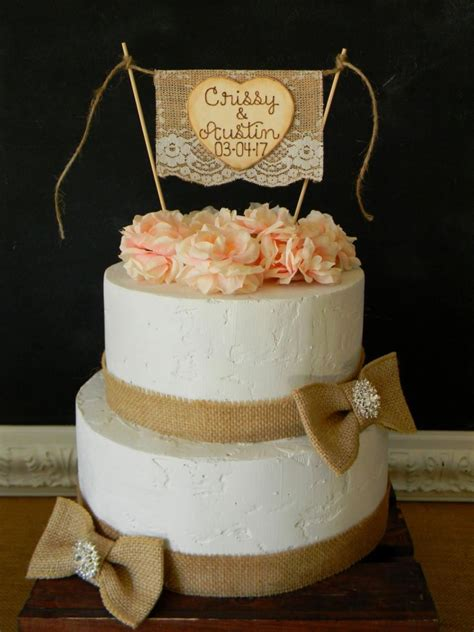 Wedding Banner Cake Topper by Personalized Wedding Cake Topper Burlap Lace Bunting