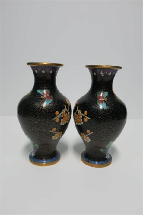 Beautiful Vases For Sale by Beautiful Vintage Pair Of Black And Green Cloisonn 233 Vases