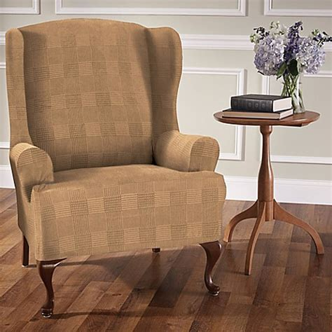 stretch wingback sofa slipcover stretch plaid wingback chair slipcover bed bath beyond