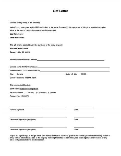 sample gift letter form  images letter