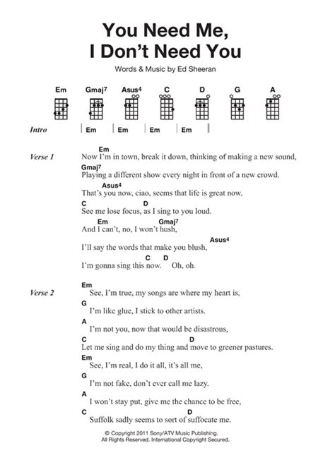 ed sheeran perfect ukulele strumming pattern you need me i don t need you sheet music by ed sheeran