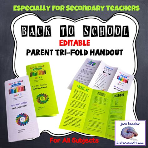 Editable Open House Parent Night Back To School Tri Fold Handout Template Night Back To And Fonts Parent Brochure Templates