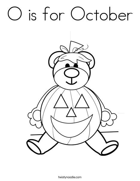 o is for october coloring page twisty noodle