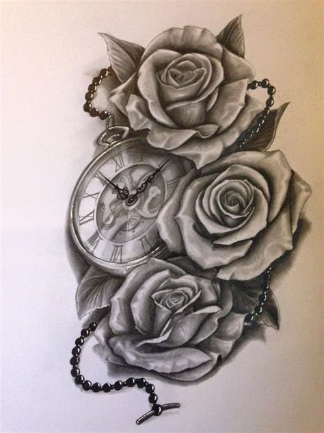 clock with roses waguinho pinterest clocks tattoo