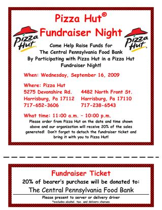 Fundraising Participation Letter Pizza Hut Fundraiser Pizzas And Fundraising