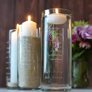Engraved Flower Vase In Loving Memory Personalized Glass Memorial Candle Holder