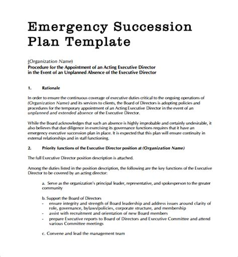 executive succession planning template sle succession planning template 9 free documents in