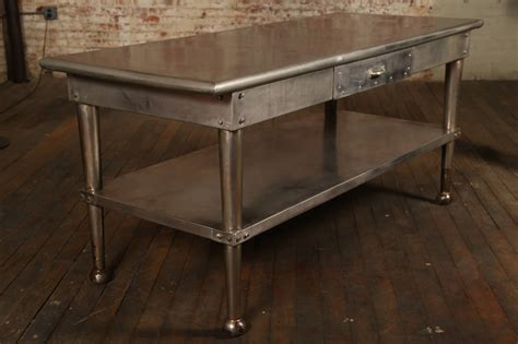 stainless steel kitchen table vintage stainless steel kitchen table at 1stdibs