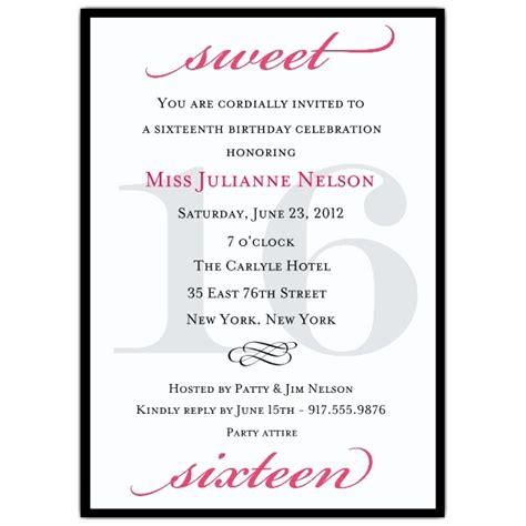 16th birthday invitations templates classic pink sweet 16 birthday invitations paperstyle