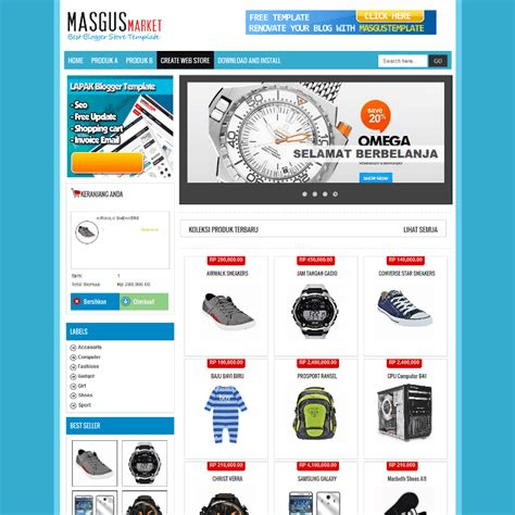 masgus market shopping cart free blogger template
